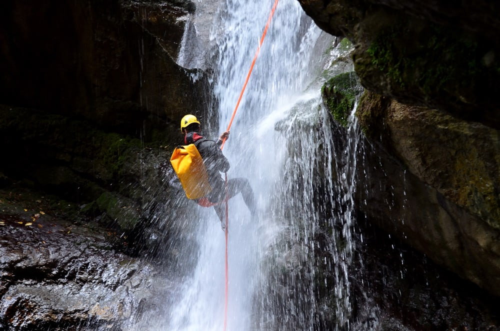 Waterfall rappelling, Costa Rica