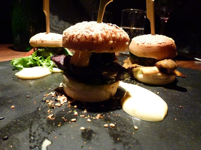 Whale, puffin and lobster mini burgers